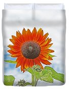 Red Face Sunflower At Olympia Duvet Cover