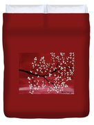 Red Japanese Cherry Blossom Duvet Cover