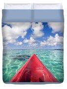 Red Outrigger Canoe Duvet Cover