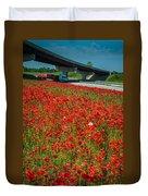 Red Poppy Field Near Highway Road Duvet Cover