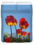 Red Tulips With Blue Sky Background Duvet Cover