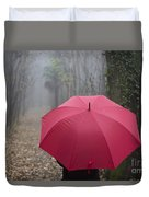 Red Umbrella In The Forest Duvet Cover