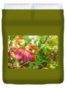 Red Viginia Creeper And Maple Leaves Duvet Cover