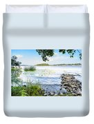 Reeds And Dnieper River Duvet Cover