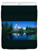Reflection Of A Snow Covered Mountain Duvet Cover