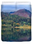 Reflection Of Hills In A Lake Duvet Cover