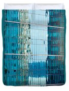 Reflections In Modern Glass-walled Building Facade Duvet Cover