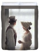 Regency Period Couple At The Window Duvet Cover