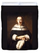 Rembrandt's Portrait Of A Lady With An Ostrich Feather Fan Duvet Cover