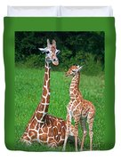 Reticulated Giraffe Calf With Mother Duvet Cover