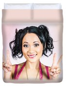 Retro Asian Girl Gesturing Peace Love And Hope Duvet Cover
