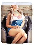 Retro Blond Beach Pinup Model With Elegant Look Duvet Cover