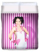 Retro Cleaning Service Maid With Smile Duvet Cover