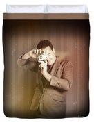 Retro Photographer Man Taking Photo With Camera Duvet Cover