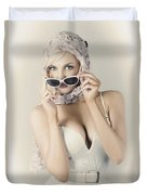 Retro Pin-up Girl In Classic Fashion Style Duvet Cover