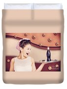 Retro Pinup Girl Holding Food And Drinks Tray Duvet Cover