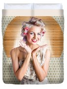 Retro Woman At Beauty Salon Getting New Hair Style Duvet Cover