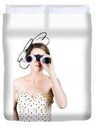 Retro Woman Looking Through Binoculars Duvet Cover