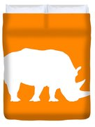 Rhino In Orange And White Duvet Cover