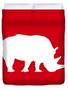 Rhino In Red And White Duvet Cover