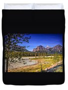 River And Mountains In Jasper Duvet Cover
