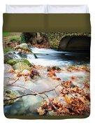 River Flowing Under Stone Bridge Duvet Cover