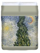 Road With Cypresses Duvet Cover