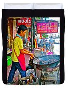 Roasting Chestnuts In China Town In Bangkok-thailand  Duvet Cover