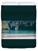 Rock Formations In The Sea, Phi Phi Duvet Cover