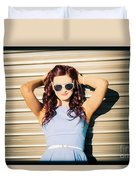 Rockabilly Greaser Pin-up. 50s Drive-in Culture Duvet Cover