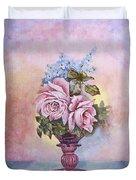 Roses In Ruby Vase Duvet Cover