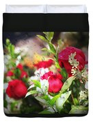 Roses In The Rain Duvet Cover