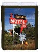 Route 66 - Paradise Motel Duvet Cover by Frank Romeo
