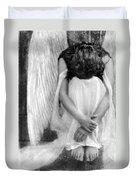Sad Angel Woman Duvet Cover