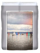 Sailing On Marine Lake A Reflection Duvet Cover