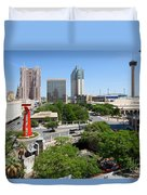 San Antonio Texas Skyline Duvet Cover