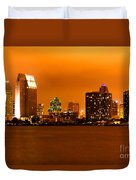 San Diego Skyline At Night Duvet Cover
