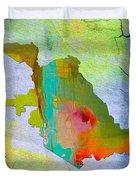 San Jose Map And Skyline Duvet Cover
