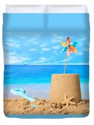Sandcastle On Beach Duvet Cover
