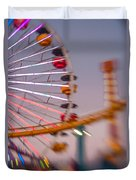 Santa Monica Pier Ferris Wheel And Roller Coaster At Dusk Duvet Cover