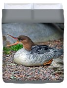 Scaly-sided Merganser Hen Duvet Cover
