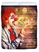 Scary Circus Clown At Horror Birthday Party Duvet Cover