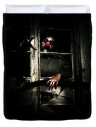 Scary Clown Clawing Window Duvet Cover