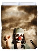 Scary Clown Doctor Throwing Knives Outdoors Duvet Cover