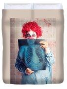Scary Clown Peeking Behind X-ray. Funny Bones Duvet Cover