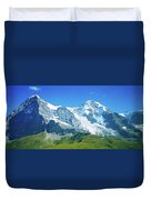 Scenic View Of Eiger And Monch Mountain Duvet Cover
