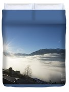 Sea Of Fog With Sunbeam Duvet Cover