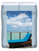 Seascape And Clouscape From Water Villa In Maldives Duvet Cover