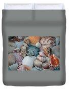 Seashells And Blue Fish Duvet Cover