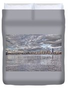 Seattle Cityscape In Clouds Duvet Cover
